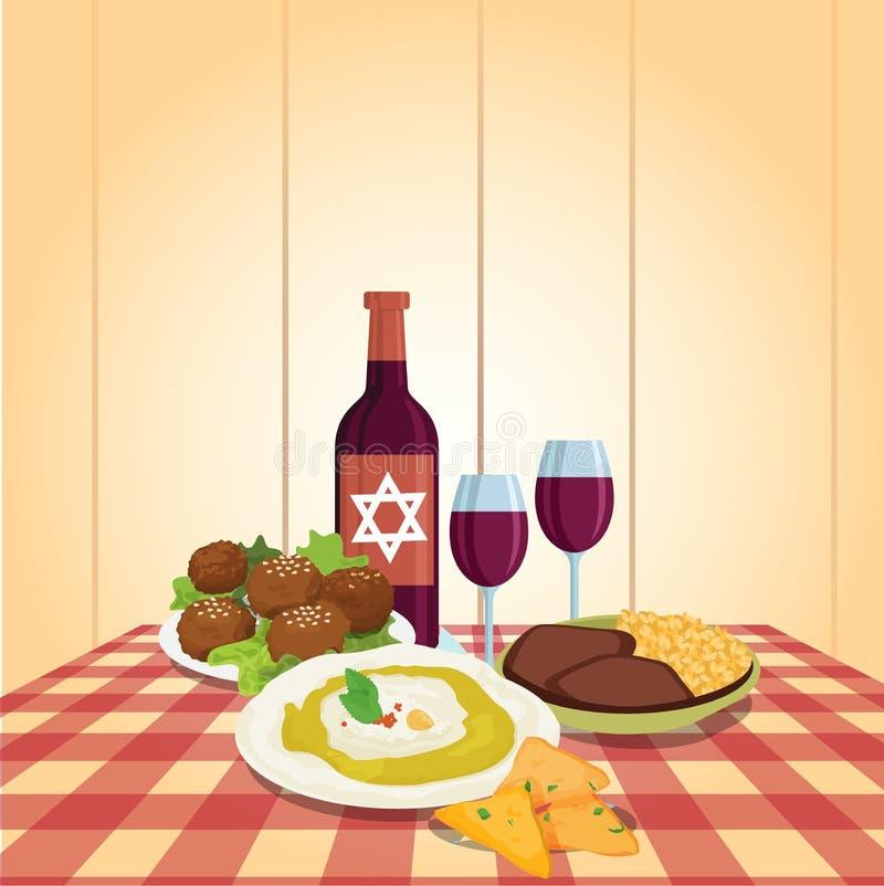 Kabbalat Shabbat, refeição da noite da família, desenhos animados coloridos do vetor ilustração royalty free