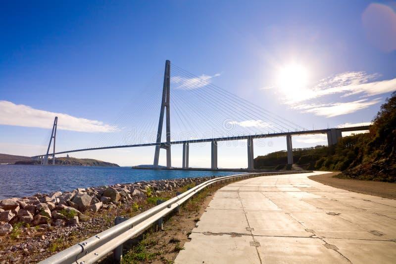 Kabel-bliven bro till den ryska ön. Vladivostok. Ryssland. fotografering för bildbyråer