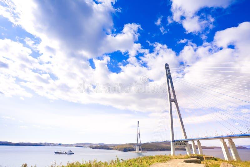 Kabel-bliven bro till den ryska ön. Vladivostok. Ryssland. arkivfoton