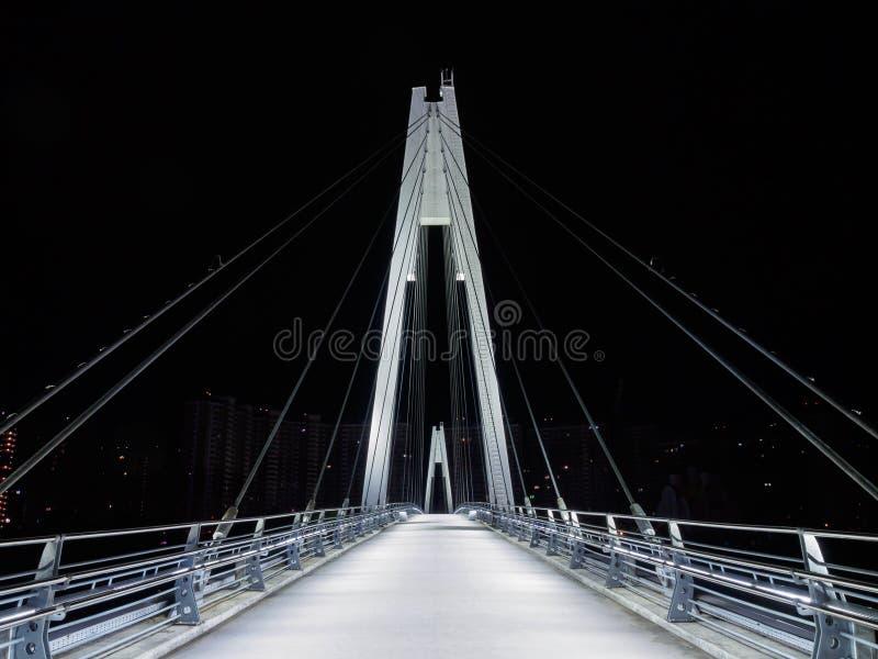 Kabel-bliven fot- bro i natten royaltyfri foto