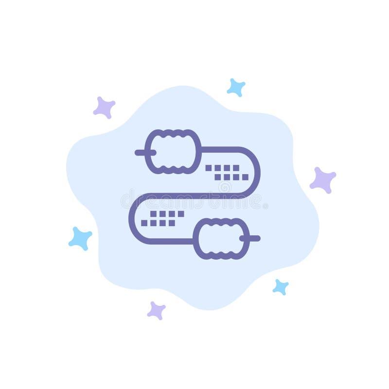 Kabel, Draad, Verbinding, Condensatoren Blauw Pictogram op Abstracte Wolkenachtergrond stock illustratie