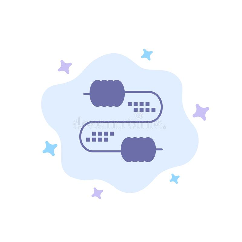 Kabel, Draad, Verbinding, Condensatoren Blauw Pictogram op Abstracte Wolkenachtergrond vector illustratie