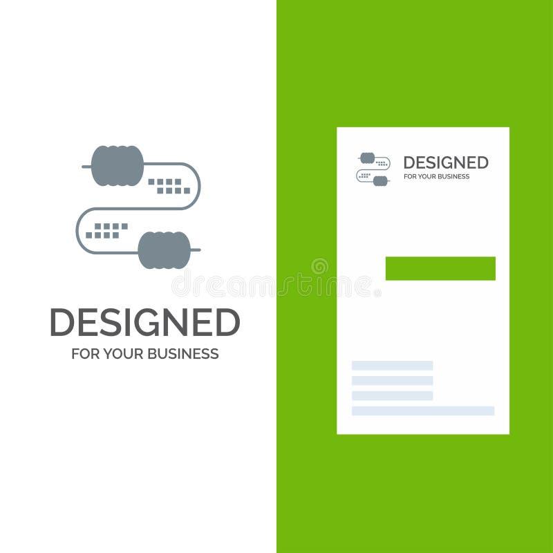 Kabel, Draad, Verbinding, Condensatoren Grey Logo Design en Visitekaartjemalplaatje royalty-vrije illustratie