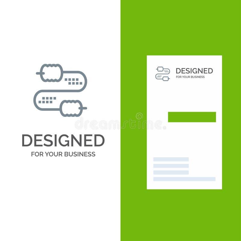Kabel, Draad, Verbinding, Condensatoren Grey Logo Design en Visitekaartjemalplaatje vector illustratie