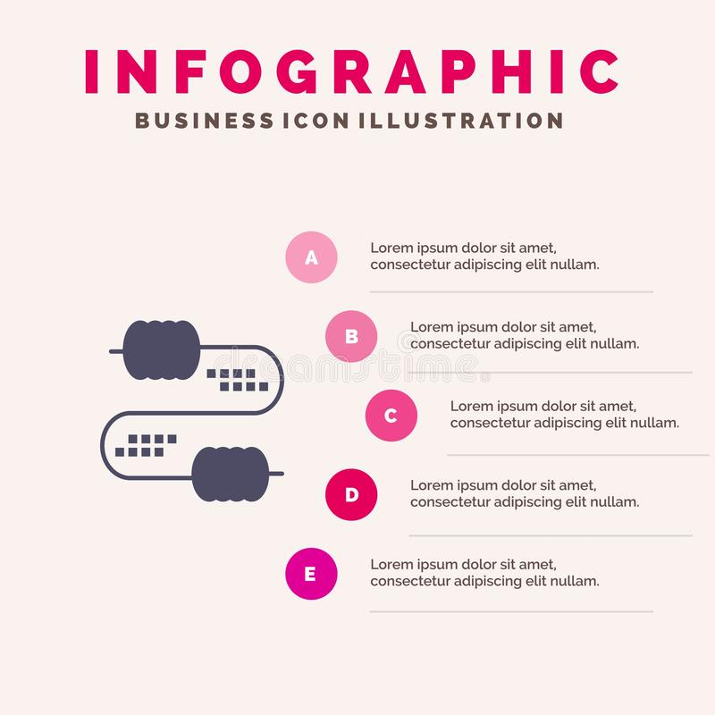 Kabel, Draad, Verbinding, Condensatoren Stevig Pictogram Infographics 5 de Achtergrond van de Stappenpresentatie vector illustratie