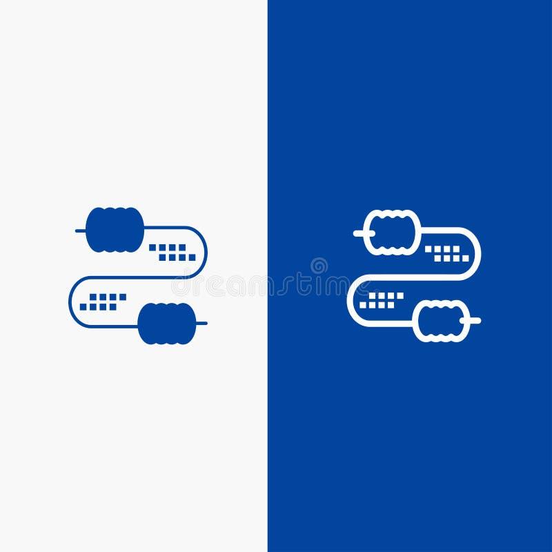 Kabel, Draad, Verbinding, Condensatorenlijn en Lijn van de het pictogram Blauwe banner van Glyph de Stevige en Stevige het pictog vector illustratie