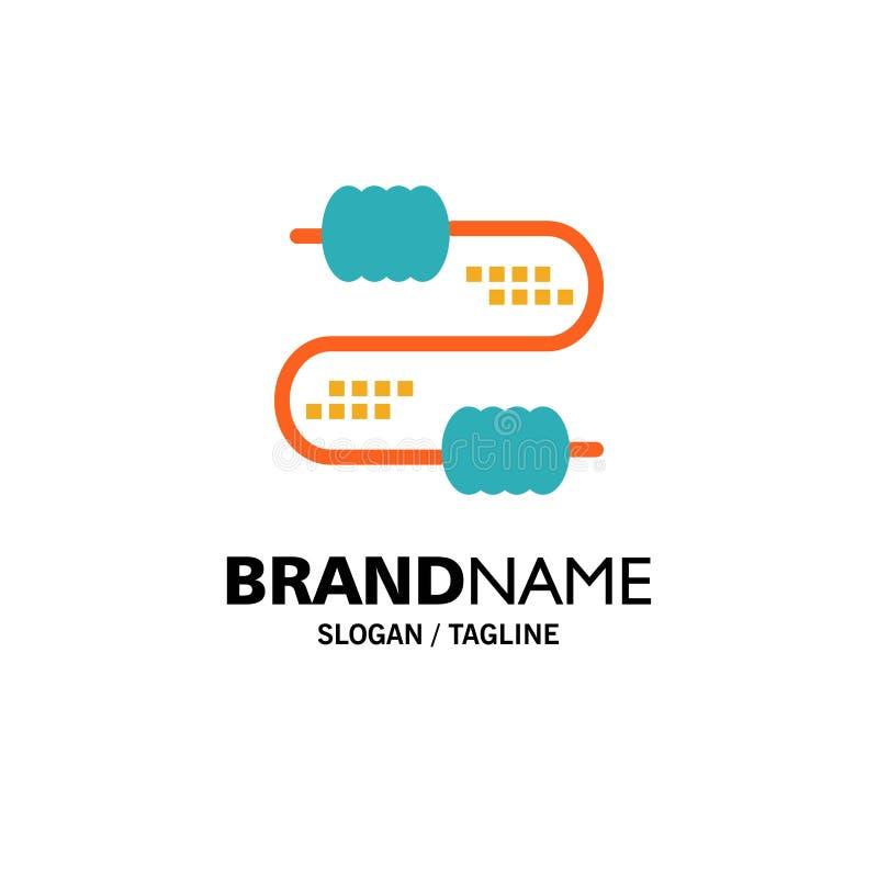 Kabel, Draad, Verbinding, Condensatorenzaken Logo Template vlakke kleur stock illustratie