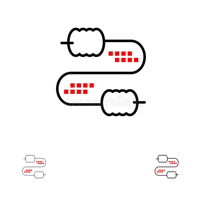 Kabel, Draad, Verbinding, het pictogramreeks van de Condensatoren Gewaagde en dunne zwarte lijn stock illustratie