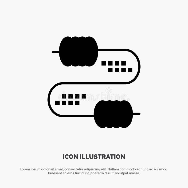 Kabel, Draad, Verbinding, het Pictogramvector van Condensatoren stevige Glyph royalty-vrije illustratie