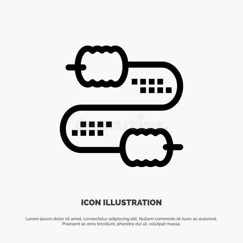 Kabel, Draad, Verbinding, het Pictogramvector van de Condensatorenlijn stock illustratie
