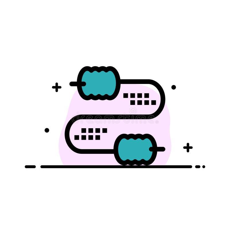 Kabel, Draad, Verbinding, Malplaatje Condensatoren van de Bedrijfs het Vlakke Lijn Gevulde Pictogram Vectorbanner royalty-vrije illustratie