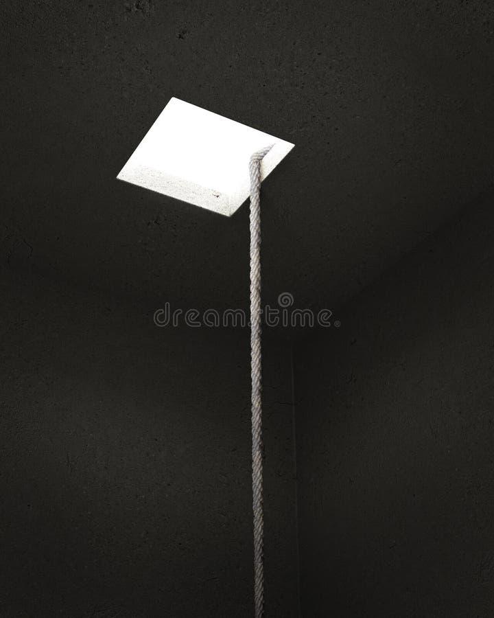 Kabel in een donkergrijze kelder die tot het licht leiden het concept vrijheid 3D Illustratie vector illustratie