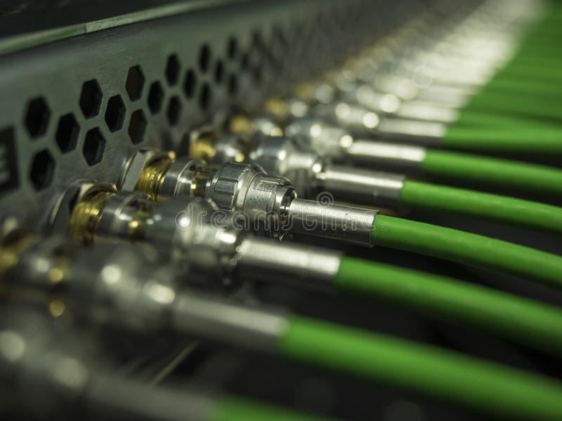 Kabel för Bnc lapppanel i kugge royaltyfria bilder