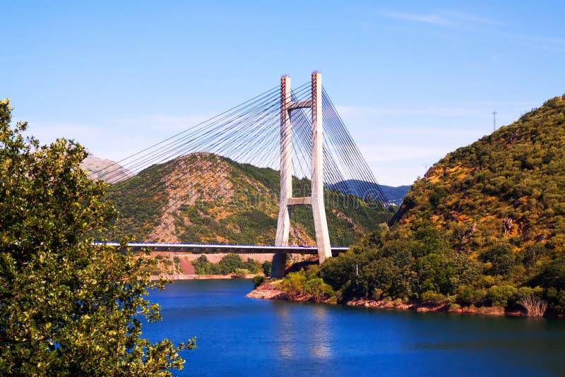 Kabel-gebleven brug over reservoir royalty-vrije stock afbeelding