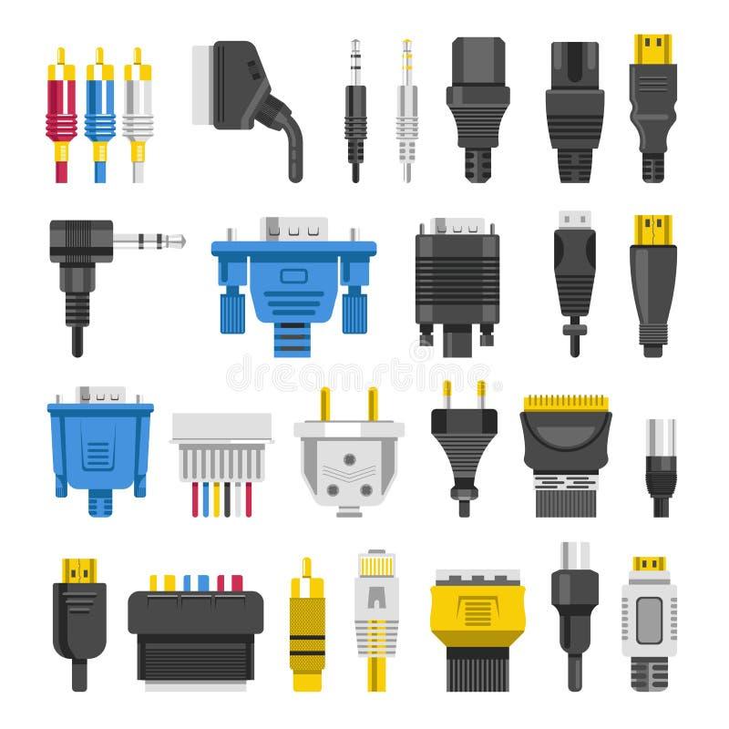 Kabel przesyła dźwigarek cyfrowych wydajność wektoru różnego mieszkanie ilustracji