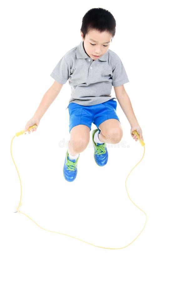 Kabel springende jongen royalty-vrije stock foto