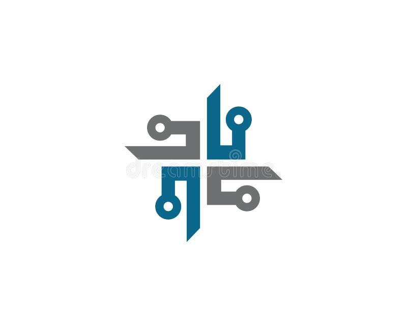 Kabel trådar som binder logomallen stock illustrationer