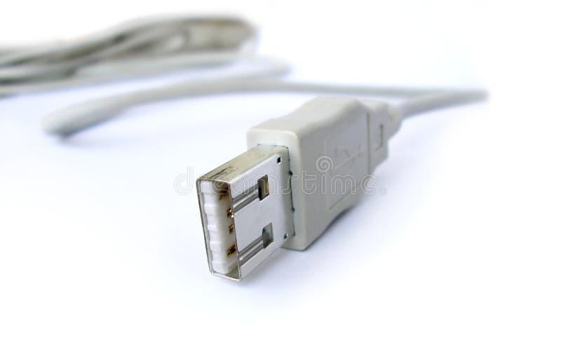 Kabel USB die op wit wordt geïsoleerd, royalty-vrije stock fotografie