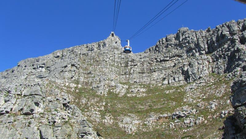 Kabelauto van Cape Town op het Tafelgebergte stock afbeelding