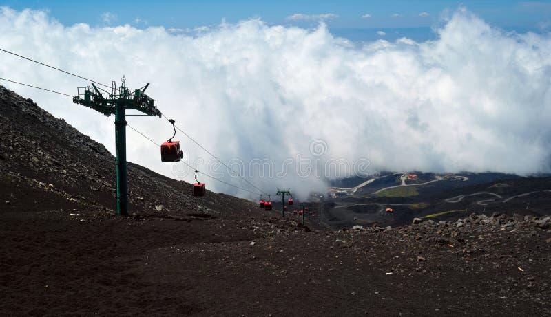 Kabelbaan aan de Etna stock afbeeldingen