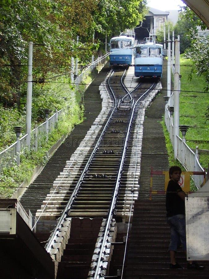 kabelbaan, de Rivier van Dniepr, vervoer, de USSR, Hogere Stad royalty-vrije stock afbeelding