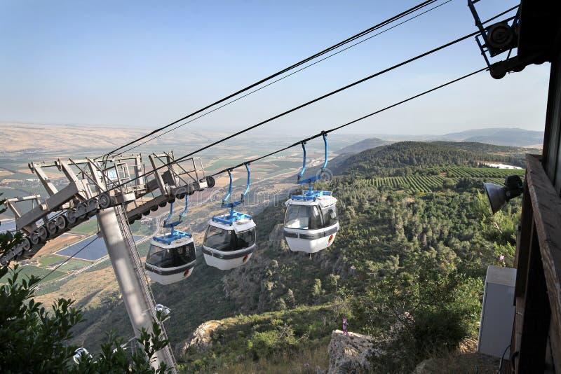 Kabelbaan in Golan Heights stock afbeeldingen