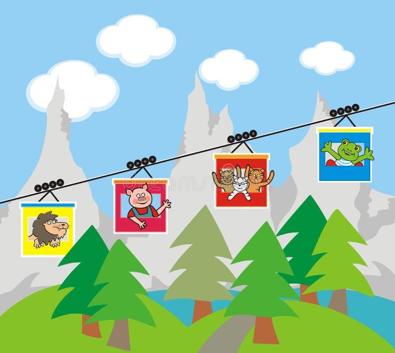 Kabelbaan, landschap en dieren, grappige vectorillustratie vector illustratie