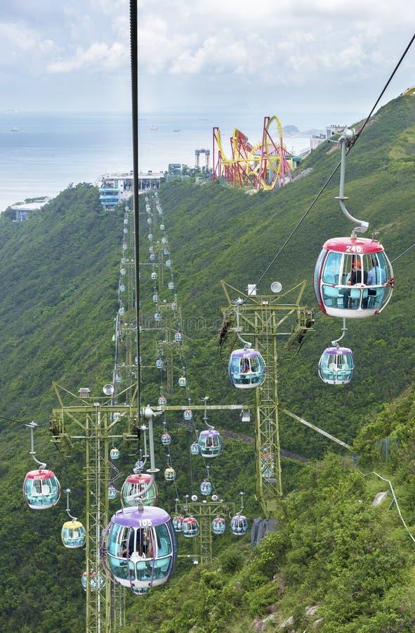 Kabelbaan in Oceaanpark, Hongkong royalty-vrije stock foto's