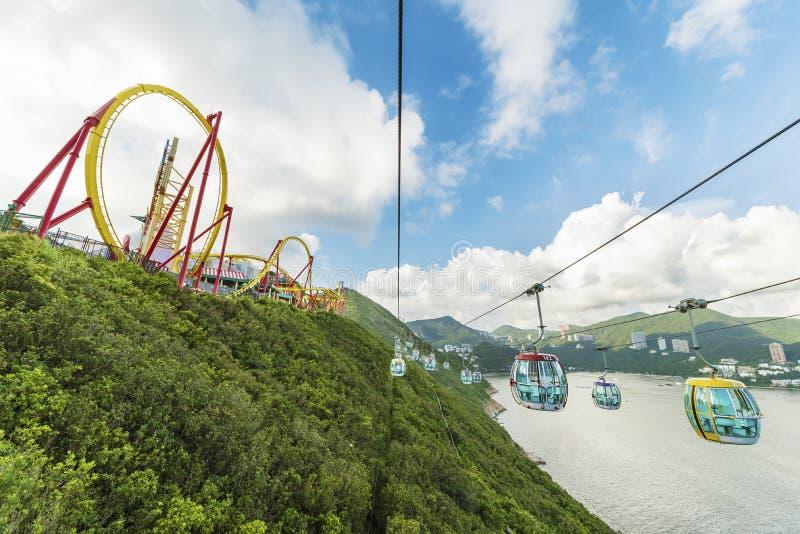 Kabelbaan in Oceaanpark, Hongkong stock foto's
