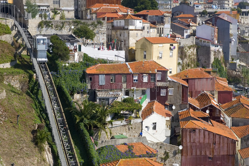 Kabelbaan in Porto, Portugal stock afbeeldingen