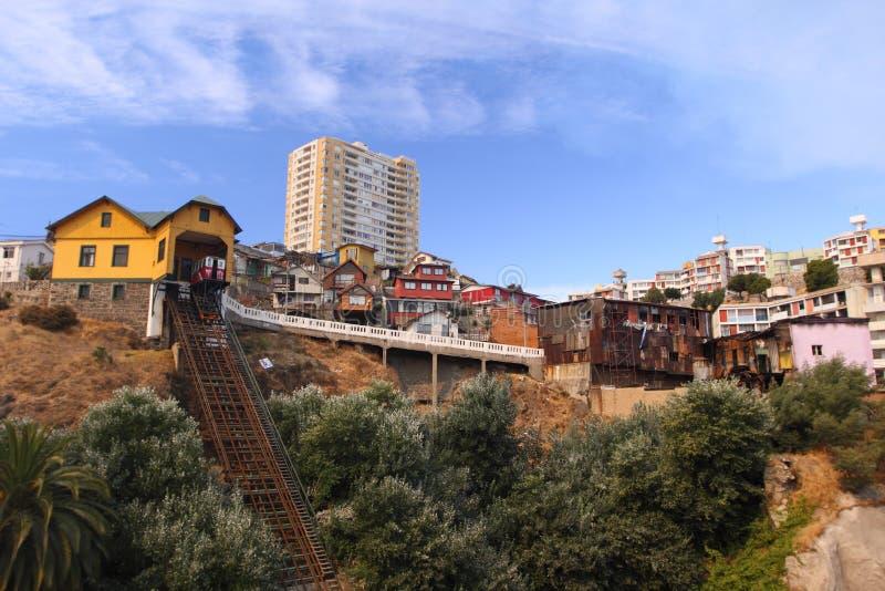 Kabelbaan in Valparaiso, Chili royalty-vrije stock fotografie