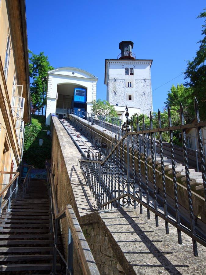 Kabelbaan in Zagreb, Kroatië stock afbeeldingen