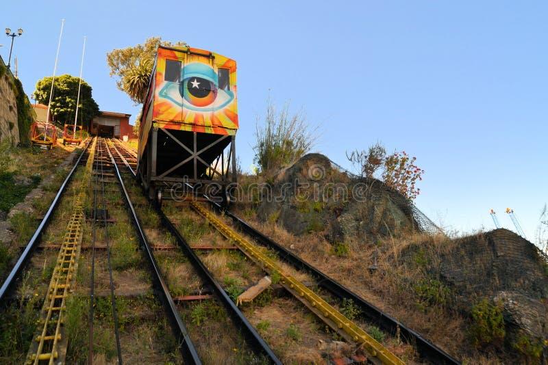 Kabelbaanroltrap, Valparaiso, Chili stock afbeelding