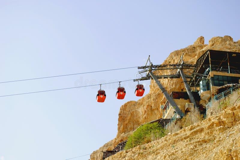 Kabelbahn in einem Felsen, Felsenkloster - ein Ort der Versuchung, stockbild