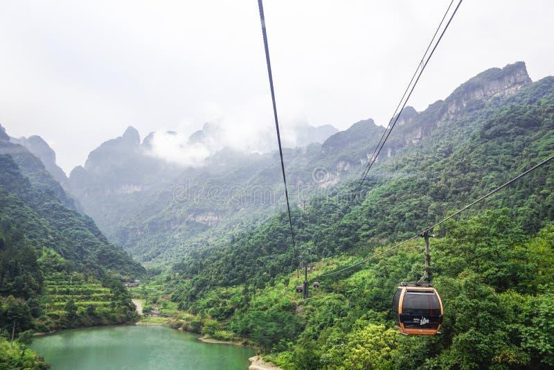 Kabelbahn Hunans Wulingyuan lizenzfreie stockfotos