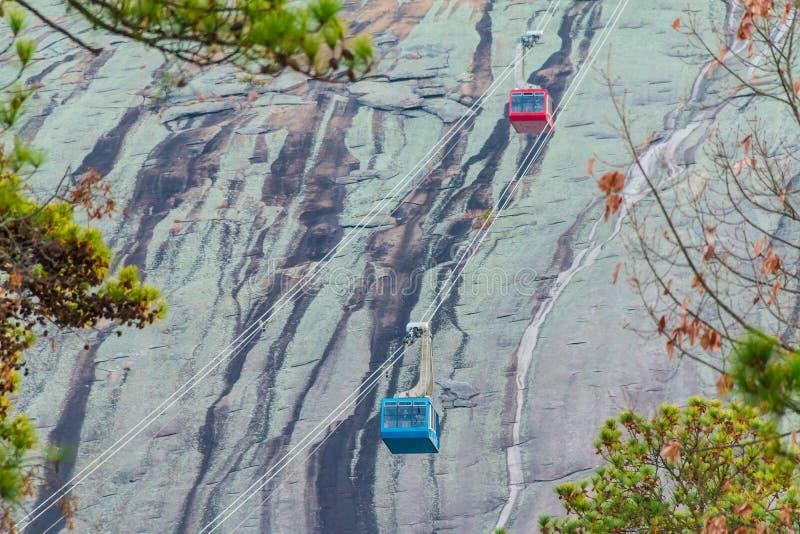 Kabelbahn im Steingebirgspark, USA lizenzfreie stockfotos