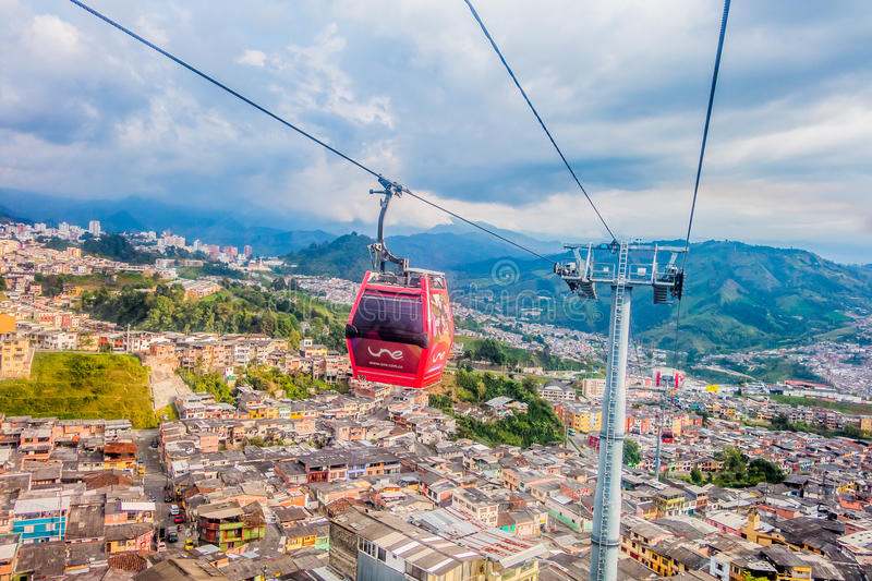 Kabelbil i Manizales, Colombia royaltyfria bilder