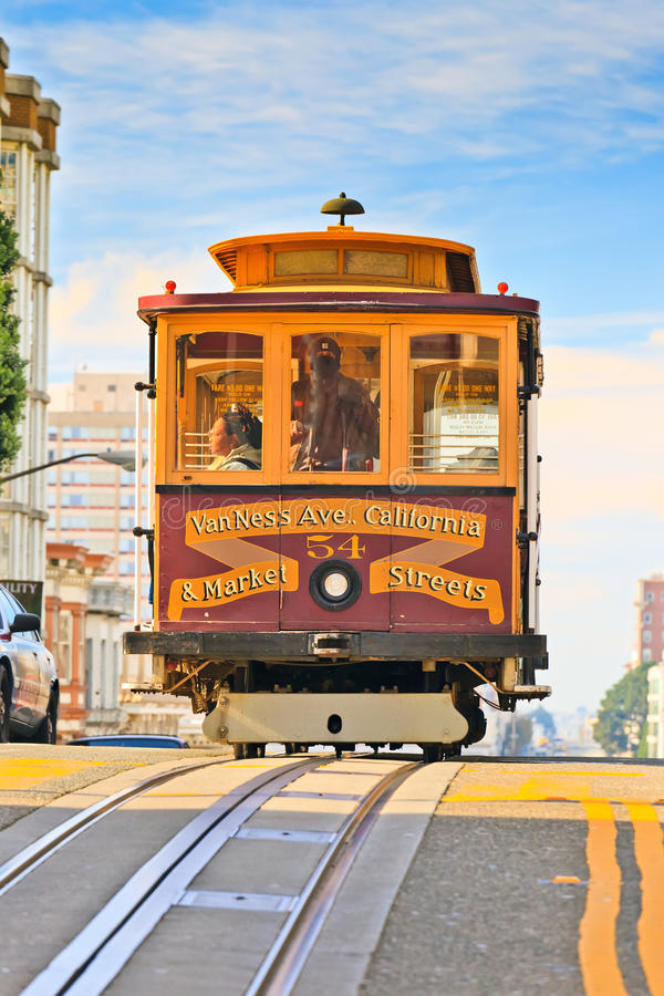Kabelbil i San Francisco fotografering för bildbyråer