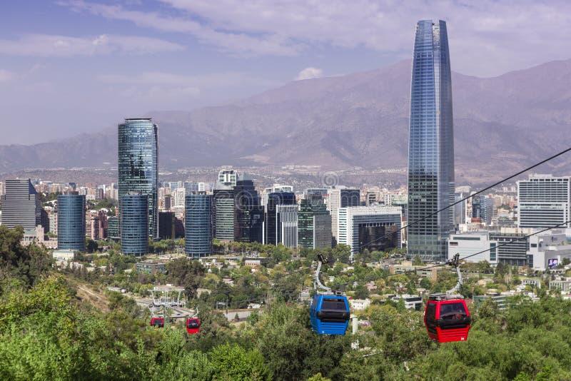 Kabelbil i Santiago de Chile arkivbilder