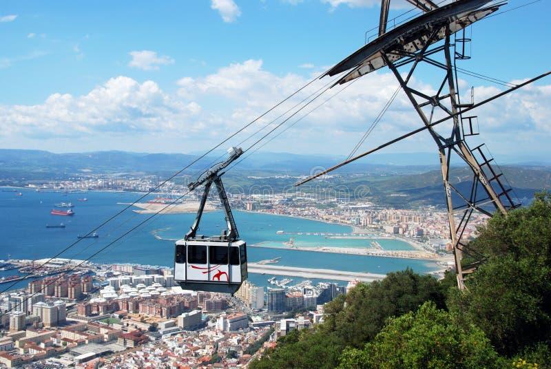 Kabelbil och kustlinje, Gibraltar royaltyfria bilder