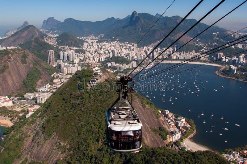 Kabelbil till det Sugarloaf berget i Rio de Janeiro arkivbild