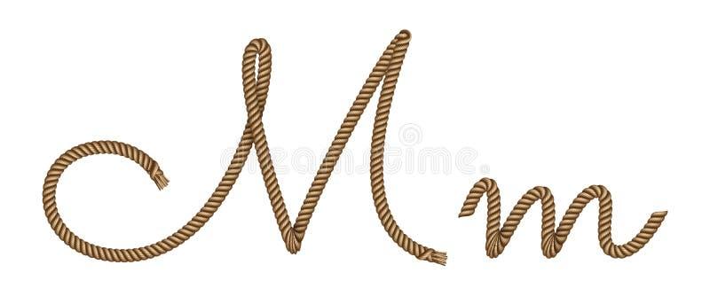 Kabelhand getrokken brief M vector illustratie