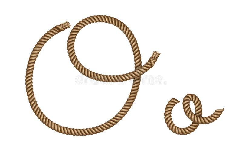 Kabelhand getrokken brief O stock illustratie