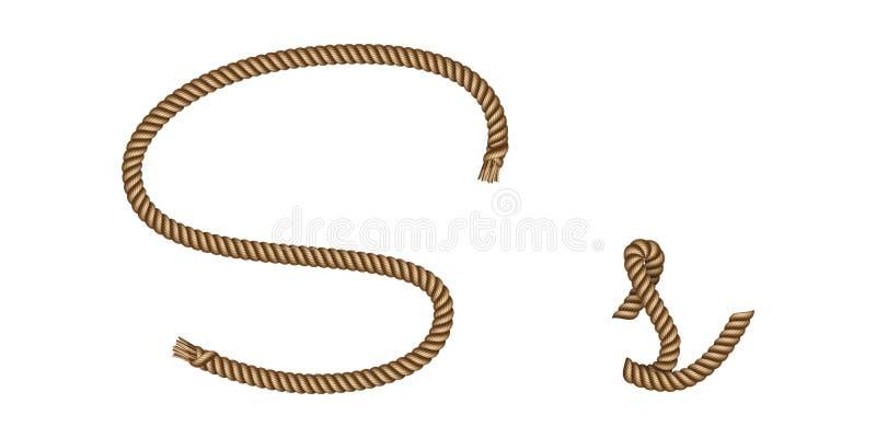 Kabelhand getrokken brief S stock illustratie