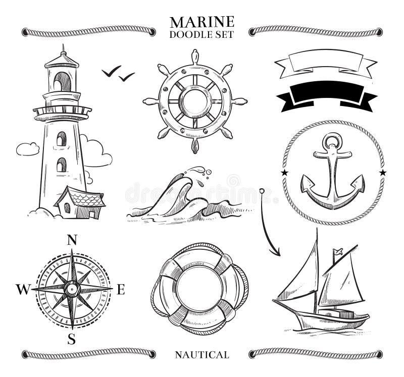 Kabelkaders, boten, mariene knopen, reeks van de ankers de zeevaart vectorkrabbel vector illustratie