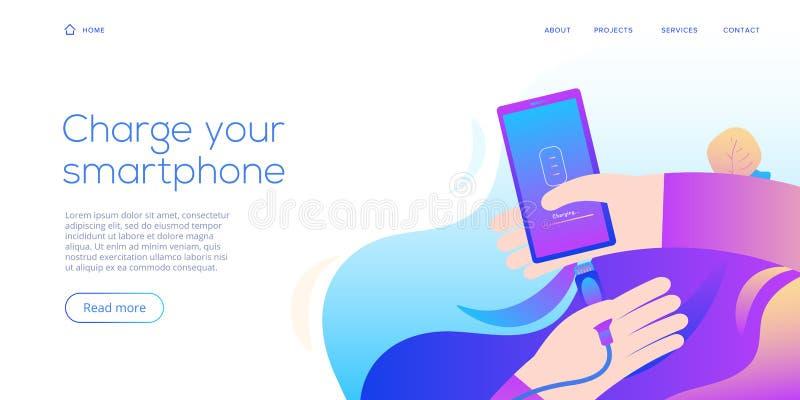 Kabelsmartphoneuppladdare i plan designillustration Abstrakt vektorbakgrund för laddande apparat för mobil kabel Webbplatslandnin stock illustrationer