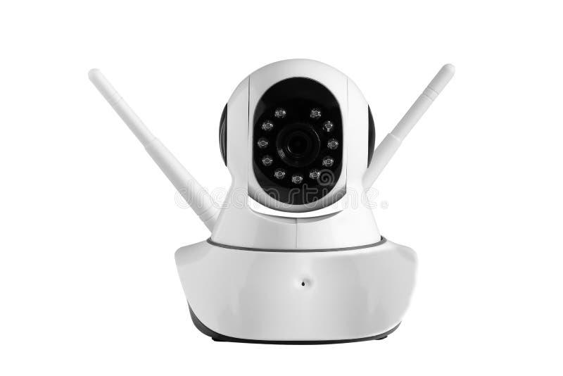 Kabeltelevisie, camera draadloze die veiligheid op wit wordt geïsoleerd royalty-vrije stock foto's