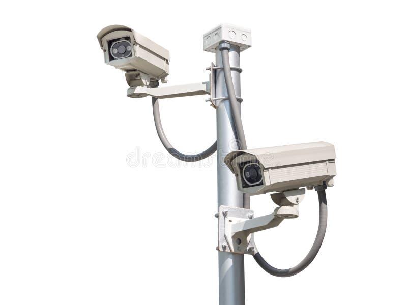 Kabeltelevisie-camera op wit wordt geïsoleerd dat royalty-vrije stock foto