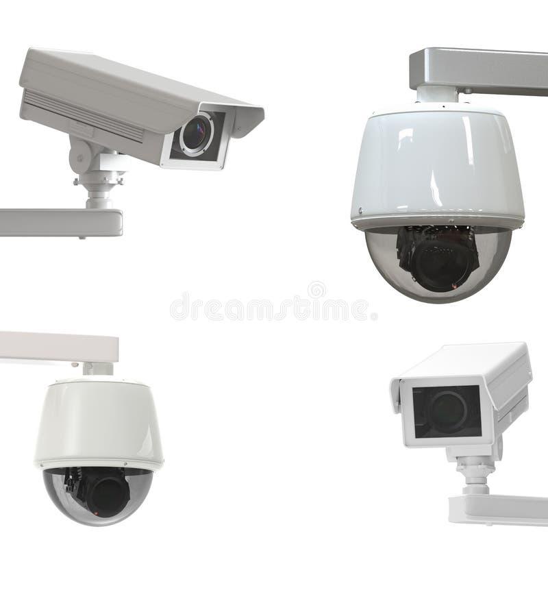 Kabeltelevisie-camera op wit wordt geïsoleerd dat stock afbeelding