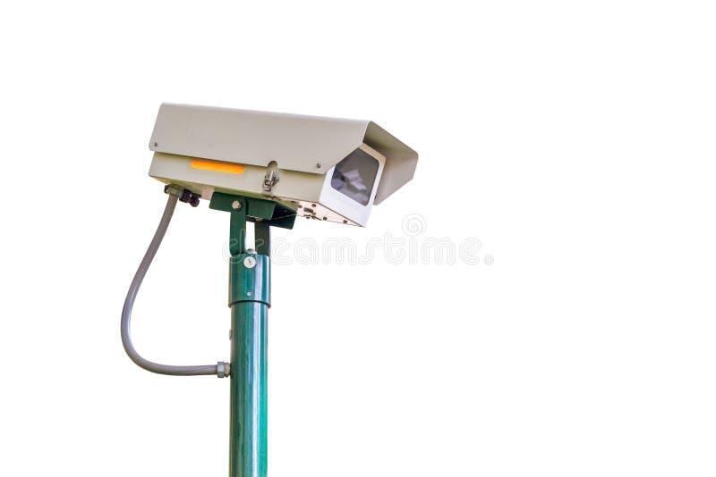 Kabeltelevisie-cameraveiligheid op witte achtergrond voor veiligheidsconcept stock afbeelding